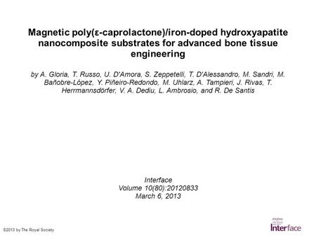 Magnetic poly(ε-caprolactone)/iron-doped hydroxyapatite nanocomposite substrates for advanced bone tissue engineering by A. Gloria, T. Russo, U. D'Amora,