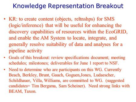 Knowledge Representation Breakout KR: to create content (objects, reltnshps) for SMS (logic/inference) that will be useful for enhancing the discovery.