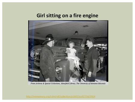 Girl sitting on a fire engine