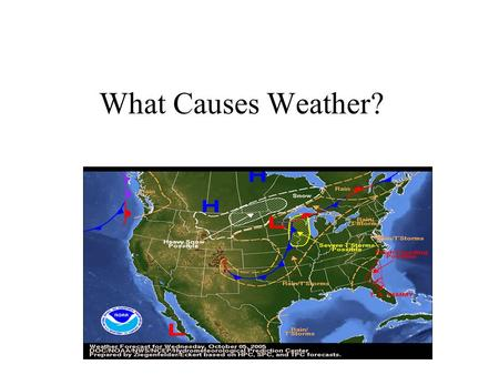 What Causes Weather?. We should have discovered that land and water do not heat up at the same rate. If things went correctly, we should know that land.
