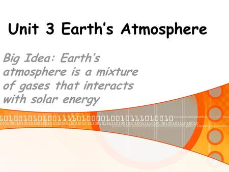 Unit 3 Earth's Atmosphere Big Idea: Earth's atmosphere is a mixture of gases that interacts with solar energy.