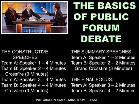 THE BASICS OF PUBLIC FORUM DEBATE THE CONSTRUCTIVE SPEECHES Team A: Speaker 1 – 4 Minutes Team B: Speaker 2 – 4 Minutes Crossfire (3 Minutes) Team A: Speaker.
