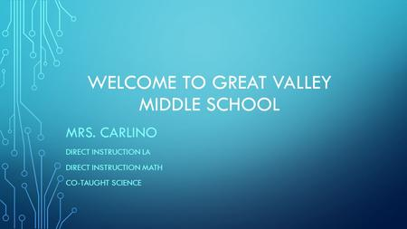 WELCOME TO GREAT VALLEY MIDDLE SCHOOL MRS. CARLINO DIRECT INSTRUCTION LA DIRECT INSTRUCTION MATH CO-TAUGHT SCIENCE.