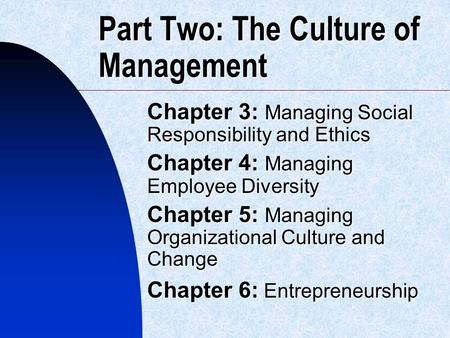 Part Two: The Culture of Management Chapter 3: Managing Social Responsibility and Ethics Chapter 4: Managing Employee Diversity Chapter 5: Managing Organizational.