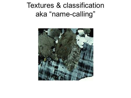 Textures & classification