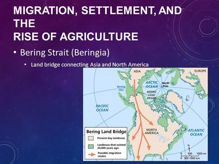 Migration, Settlement, and the Rise of Agriculture