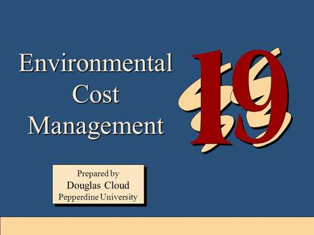 19-1 Environmental Cost Management Prepared by Douglas Cloud Pepperdine University Prepared by Douglas Cloud Pepperdine University.