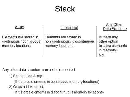 Stack Array Linked List Elements are stored in continuous / contiguous memory locations. Elements are stored in non-continuous / discontinuous memory locations.