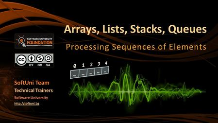 Arrays, Lists, Stacks, Queues Processing Sequences of Elements SoftUni Team Technical Trainers Software University