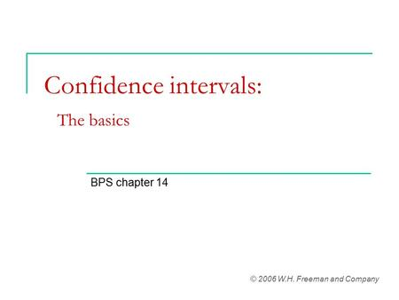 Confidence intervals: The basics BPS chapter 14 © 2006 W.H. Freeman and Company.