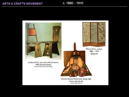 ARTS & CRAFTS MOVEMENT c. 1880 - 1910. ARTS & CRAFTS MOVEMENT c. 1880 - 1910 Began in Britain, spread to America Rejected: The eclectic historicism and.