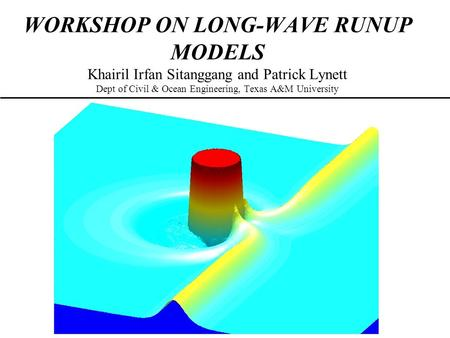 WORKSHOP ON LONG-WAVE RUNUP MODELS Khairil Irfan Sitanggang and Patrick Lynett Dept of Civil & Ocean Engineering, Texas A&M University.