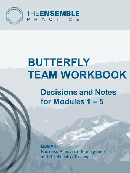 BUTTERFLY TEAM WORKBOOK Decisions and Notes for Modules 1 – 5 BSMART Business Simulation Management and Relationship Training.