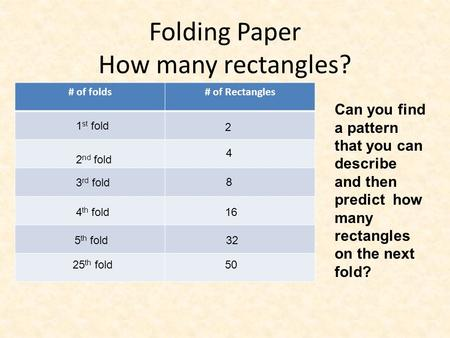 Folding Paper How many rectangles? # of folds# of Rectangles Can you find a pattern that you can describe and then predict how many rectangles on the next.