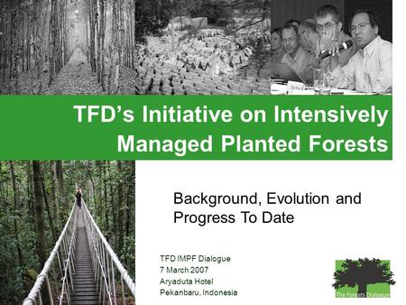 TFD IMPF Dialogue 7 March 2007 Aryaduta Hotel Pekanbaru, Indonesia TFD's Initiative on Intensively Managed Planted Forests Background, Evolution and Progress.