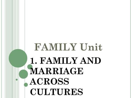 FAMILY Unit 1. FAMILY AND MARRIAGE ACROSS CULTURES.