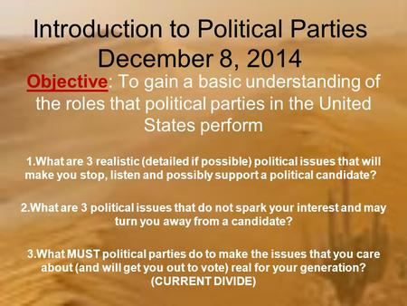 The Origins and Functions of Political Parties