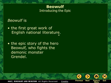 an introduction to the concept of hero in the oldest epic poem beowulf The battles of beowulf, the geatish hero, in youth and old age: personages: the dating of the events in the epic poem has been confirmed by archaeological excavations of the barrows in uppland beowulf introduction article introducing various translations and adaptations of beowulf.