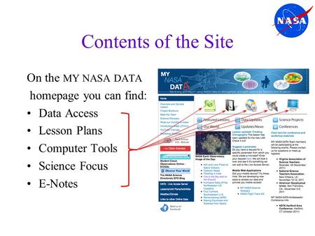 Contents of the Site On the MY NASA DATA homepage you can find: Data Access Lesson Plans Computer Tools Science Focus E-Notes.