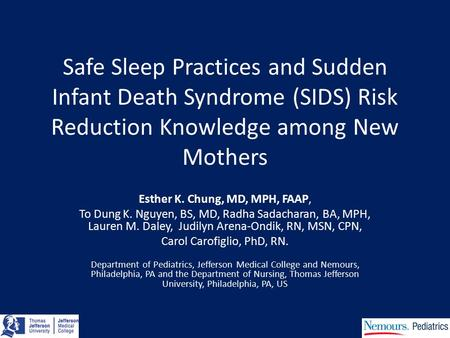 Safe Sleep Practices and Sudden Infant Death Syndrome (SIDS) Risk Reduction Knowledge among New Mothers Esther K. Chung, MD, MPH, FAAP, To Dung K. Nguyen,