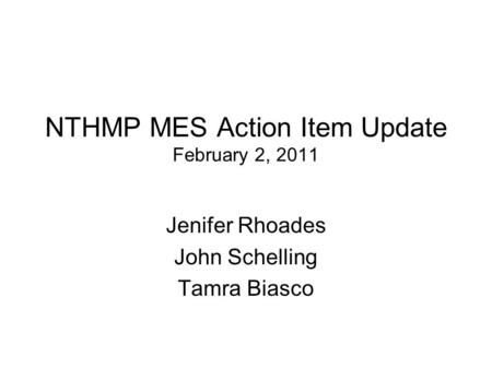 NTHMP MES Action Item Update February 2, 2011 Jenifer Rhoades John Schelling Tamra Biasco.