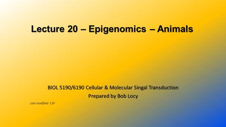 Lecture 20 – Epigenomics – Animals Lecture 20 – Epigenomics – Animals BIOL 5190/6190 Cellular & Molecular Singal Transduction Prepared by Bob Locy Last.