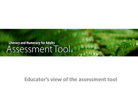 Educator's view of the assessment tool. Contents Getting started Getting around – creating assessments – assigning assessments – marking assessments Interpreting.