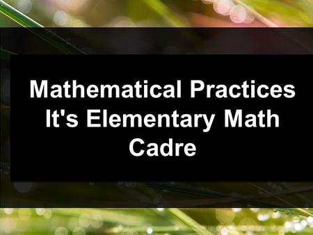 Mathematical Practices It's Elementary Math Cadre Mathematical Practices It's Elementary Math Cadre.