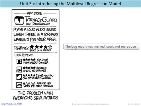 Unit 3a: Introducing the Multilevel Regression Model © Andrew Ho, Harvard Graduate School of EducationUnit 3a – Slide 1