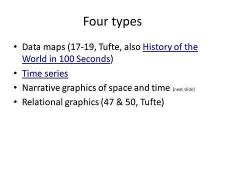 Four types Data maps (17-19, Tufte, also History of the World in 100 Seconds)History of the World in 100 Seconds Time series Narrative graphics of space.