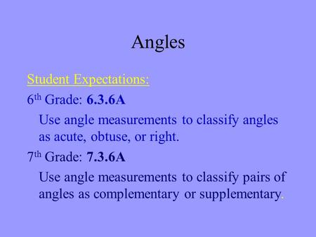 Angles Student Expectations: 6 th Grade: 6.3.6A Use angle measurements to classify angles as acute, obtuse, or right. 7 th Grade: 7.3.6A Use angle measurements.
