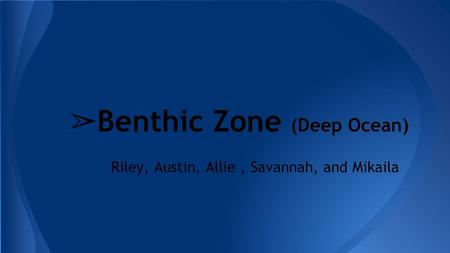 Riley, Austin, Allie, Savannah, and Mikaila ➢ Benthic Zone (Deep Ocean)