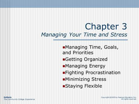 Chapter 3 Managing Your Time and Stress