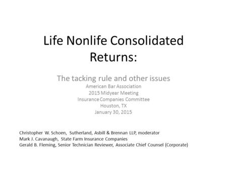 Life Nonlife Consolidated Returns:
