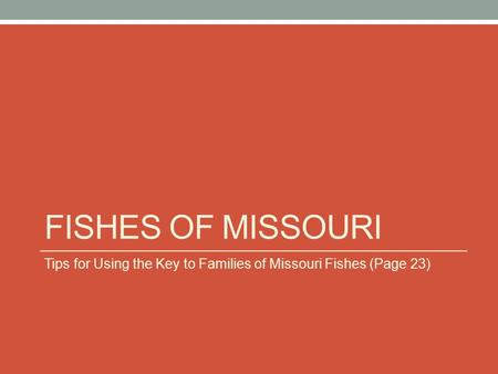 FISHES OF MISSOURI Tips for Using the Key to Families of Missouri Fishes (Page 23)