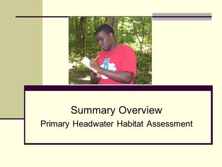 Summary Overview Primary Headwater Habitat Assessment.