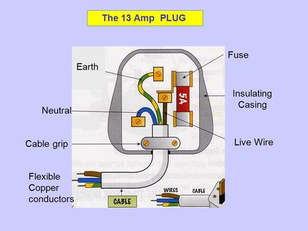 The 13 Amp PLUG Fuse Insulating Casing Live Wire Neutral Cable grip Flexible Copper conductors Earth.