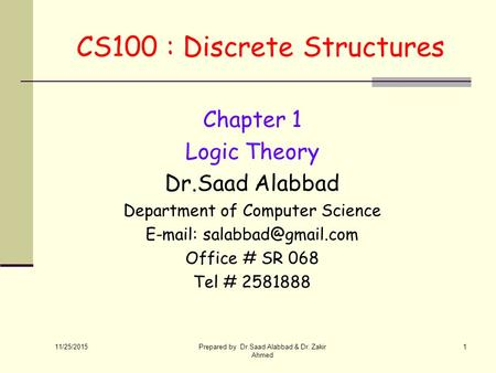 CS100 : Discrete Structures