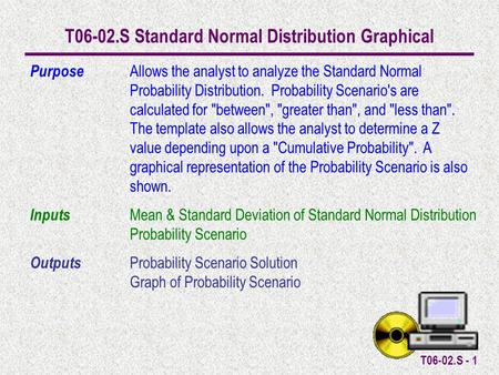 T06-02.S - 1 T06-02.S Standard Normal Distribution Graphical Purpose Allows the analyst to analyze the Standard Normal Probability Distribution. Probability.