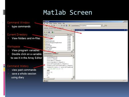 Matlab Screen  Command Window  type commands  Current Directory  View folders and m-files  Workspace  View program variables  Double click on a.
