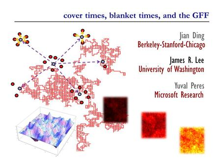 Cover times, blanket times, and the GFF Jian Ding Berkeley-Stanford-Chicago James R. Lee University of Washington Yuval Peres Microsoft Research.