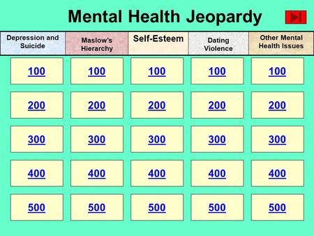 Mental Health Jeopardy 100 200 100 200 300 400 500 300 400 500 100 200 300 400 500 100 200 300 400 500 100 200 300 400 500 Depression and Suicide Self-Esteem.