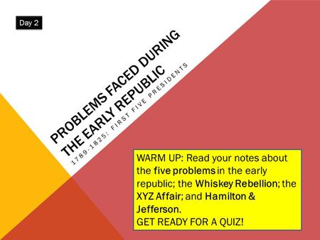 PROBLEMS FACED DURING THE EARLY REPUBLIC 1789-1825: FIRST FIVE PRESIDENTS WARM UP: Read your notes about the five problems in the early republic; the Whiskey.