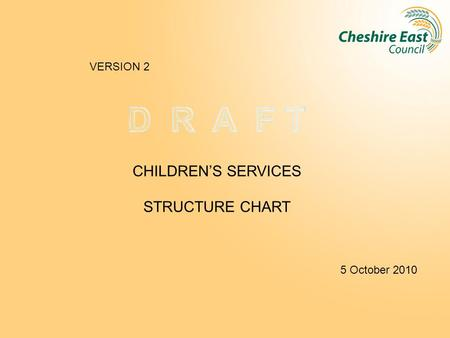 CHILDREN'S SERVICES STRUCTURE CHART 5 October 2010 VERSION 2.