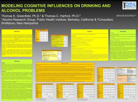 METHODS Sample: The Institute for Survey Research of Temple University conducted face-to-face interviews for the 1995 National Alcohol Survey (NAS). The.