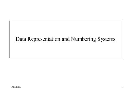 AEEE2031 Data Representation and Numbering Systems.