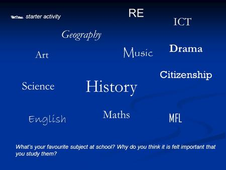  starter activity What's your favourite subject at school? Why do you think it is felt important that you study them? History RE Music English Drama MFL.