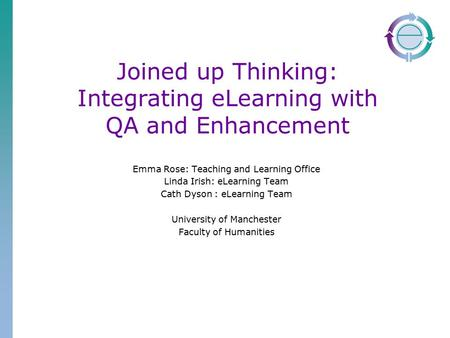 Joined up Thinking: Integrating eLearning with QA and Enhancement Emma Rose: Teaching and Learning Office Linda Irish: eLearning Team Cath Dyson : eLearning.