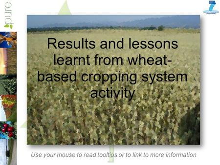 Results and lessons learnt from wheat- based cropping system activity Use your mouse to read tooltips or to link to more information.