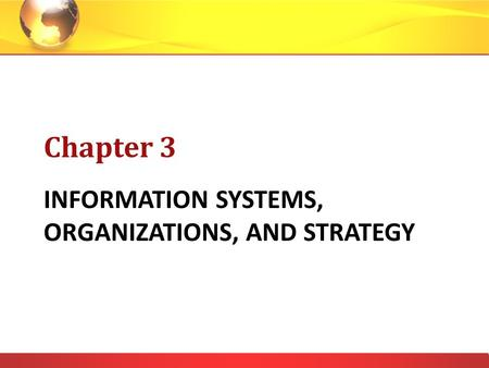 INFORMATION SYSTEMS, ORGANIZATIONS, AND STRATEGY Chapter 3.